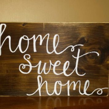 Rustic Home Sweet Home Sign, Rustic Country Sign, Rustic Home Decor, Housewarming Gift, Calligraphy Sign, Primitive Sign, Country Sign