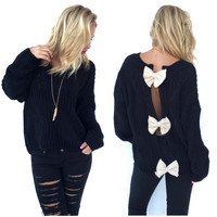Bow Trifecta Knit Sweater In Black