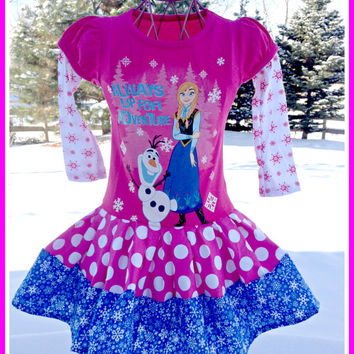 Long or Short sleeve girls FROZEN Princess Anna Disney fabric graphic tee knit twirl party Dress layers of ruffle size XS S 2/3 4 M 5 6
