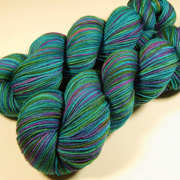 Hand Dyed Yarn - Sport Weight Superwash Merino Wool Yarn - Aegean Multi - Knitting Yarn, Sock Yarn, Wool Yarn, Turquoise