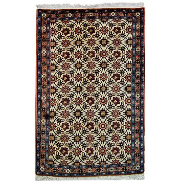 Oriental Veramin Floral Motif Wool and Cotton Persian Rug, Beige/Red/Blue
