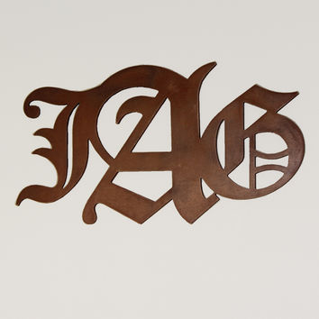 Wooden Monogram Initials in Old English