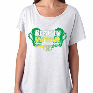 Beauty is in the eye of the Beer holder Women Tri-Blend Dolman shirt