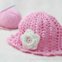 Crochet Summer Baby Girl Pink Hat with crochet white flower aplique