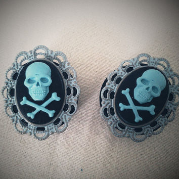 "Blue Jolly Roger Pirate Cameo 13/16"" Inch 20mm Plugs Rococo Victorian Mourning Macabre Pirate Horror Corporate Goth Dark"