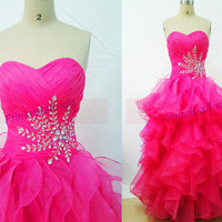 Long rose red tulle prom dresses with crystal 2014,cute sweetheart bridesmaid gowns hot,chic floor length dress for holiday party.
