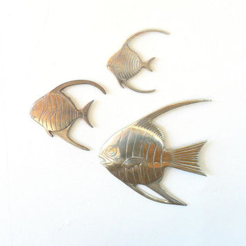 SALE 30% OFF vintage 1970s india brass angel fish wall hangings