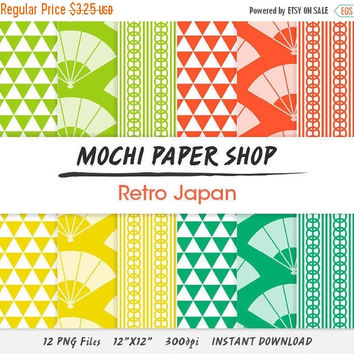 50% OFF Japanese Digital Paper Download, Traditional Asian Design, Retro Colors, Fans, Triangles, Stripes, Instant Download, Japanese PNG Fi
