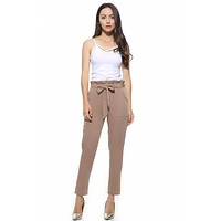 Chiffon High Waist Harem Pants Bow Tie Drawstring