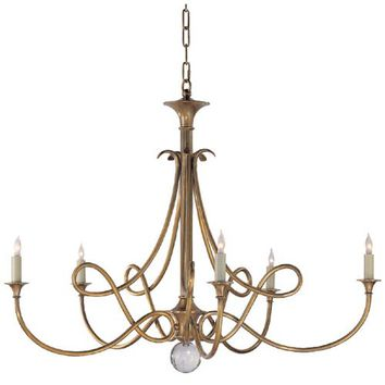 Visual Comfort and Company SC5005HAB Antique Brass Double Twist Five-Light Chandelier