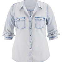 Plus Size - Bleach Wash Denim Boyfriend Shirt - Light Denim