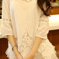 White Lace Panel Blouse