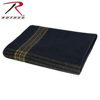 Navy With Gold Stripe Wool Blanket