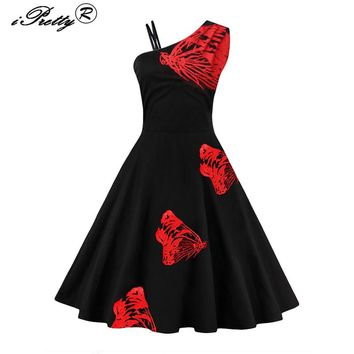 2017 Plus Size Vintage Butterfly Embroidery Summer Dress Robe Rockabilly Oblique Sleeveless Hepburn 50s 60s Swing Pin Up Vestido