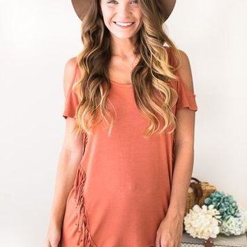 Texas Fringe Orange Cold Shoulder Top