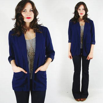 vtg 80s classic preppy navy blue NAUTICAL sailor OVERSIZED BOYFRIEND long blazer jacket S M