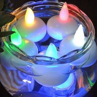 12pcs Waterproof Floating Flameless LED Tealight Tea Candles Light Wedding Birthday Party Christmas Decorations Candles Lamp