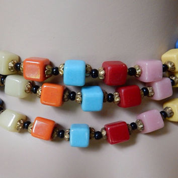 Gorgeous Harlequin Glass Bead Flapper Necklace OOAK One of a Kind Long Necklace