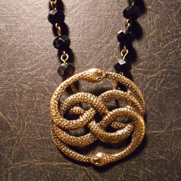 Auryn Neverending Story Entwined Snakes on Black Glass Rosary Chain