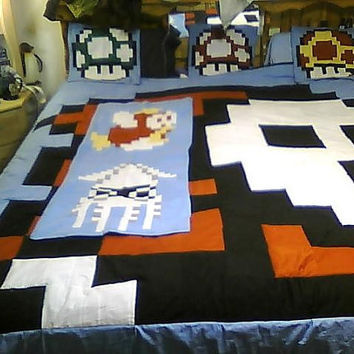 Mario Bed Set Shown on King size bed by GameInspired on Etsy