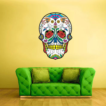 Full Color Wall Decal Mural Sticker Decor Art Beautyfull Cute Sugar Skull Bedroom Curly modern fashion (col604)