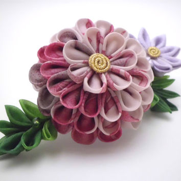 Floral hair comb, Salmon Pink Lavender flowers, Tsumami kanzashi, Upcycled silk, Fabric flower, Flower Headpiece, Gift Ideas, Wedding, OOAK