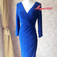 Royal Blue Dress. Plus Size Dress. Long Sleeve Wrap Formal Dress. Autumn Party Dress Occasion Dress. Dresses for Women. Tea Length Dress.