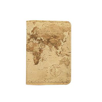 Vintage World Map Leather Passport Holder - Passport Protector - Passport Cover - Passport Wallet_Mishkaa