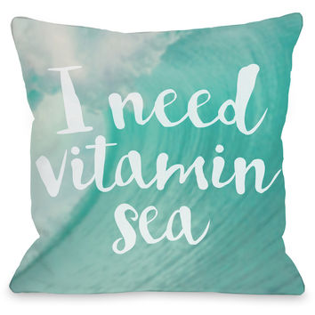 """Vitamin Sea"" Indoor Throw Pillow by OneBellaCasa, 16""x16"""