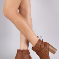 Qupid Back Lace Up Stitched Chunky Heeled Booties