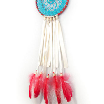 Dreamcatcher, Blue Red Creame Dream Catcher, Crochet dreamcatcher, Doily Dream Catcher, boho dreamcatcher, wall hanging, handmade