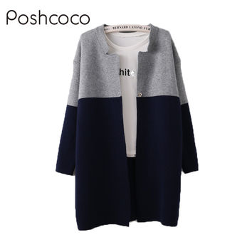 Real Brand Casual Knitted Long Sleeve Women Sweater Cardigan Feminino 2017 New Autumn Winter Patchwork Loose Girl Kimono Poncho