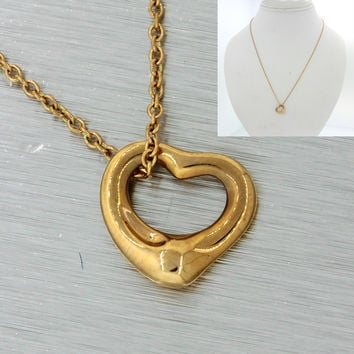 TIFFANY & Co Elsa Peretti 18k Solid Yellow Gold Open Heart Pendant Necklace