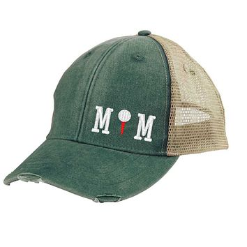 Golf Mom Distressed Snapback - off-center