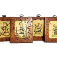 Hummel Pictures Four Wood Wall Hangings Collectible 70's Kitschy Shabby Clearance Sale