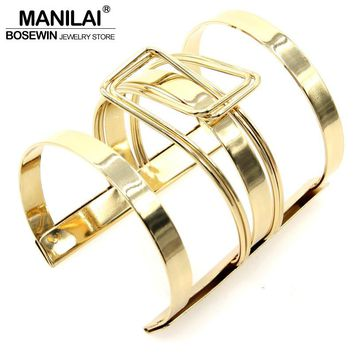 Lock Catch Design Alloy Opened Cuff Bangles