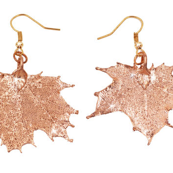 Real Leaf Hook Drop EARRINGS Sugar Maple in Rose Gold Genuine Leaf