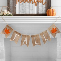 Fall Leaf Burlap Banner
