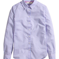 H&M - Cotton Shirt - Blue/Striped - Ladies