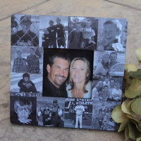 """Personalized Picture Frame, Custom Collage Anniversary Photo Frame, Family Photo Collage 8"""" x 8"""""""