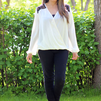 Black Lace Detail Ivory Blouse