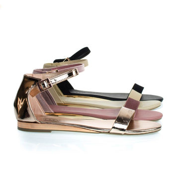 Interest21 Rose Gold By Bamboo, Flat Sandal w Slightly Elevated Mirror Metallic Wedge