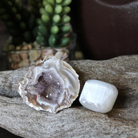 Slightly Defective - Amethyst Geode Cave & Polished Selenite Set of 2 Stones, Quartz Crystal Healing, Pagan Supplies, Occult, Metaphysical