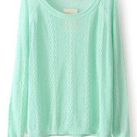 Green Knit Cutout Long Sleeve Sweater