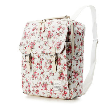 Flower Print Cotton Square Backpack (3 colors)