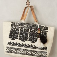 Star Mela Savanna Embroidered Tote in Black & White Size: One Size Bags