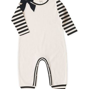 Ivory & Black Stripe Bow Playsuit - Infant