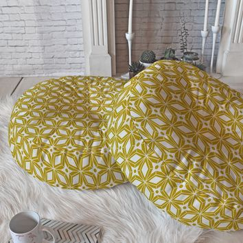 Heather Dutton Starbust Gold Floor Pillow Round