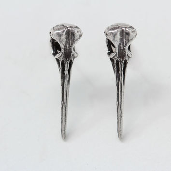Hummingbird Skull Post Earrings in sterling