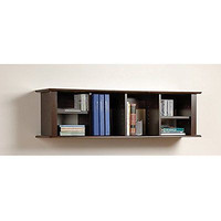 Prepac Wall Hanging Desk Hutch, Espresso Bookshelf Storage Organizer Book New
